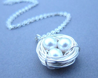 Nesting, Silver bird nest charm necklace, sparrow birds nest, mothers necklace, simple necklace, wire wrapped pearls
