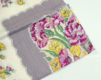 Vintage Hankie, Old Handkerchief, Floral, Carnations, Purple and Yellow Flowers, Mid Century  (23-14)