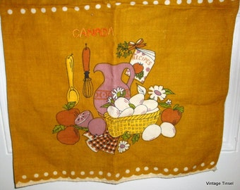 Vintage Dish Towel, Linen, Tea Towel, Kitchen Decor, Embroidered, Canada, Gold  (9575)