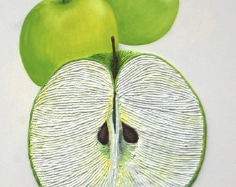 Green Apples String Art Textured 3D Painting Contemporary Modern Tactile Wall Art White Background