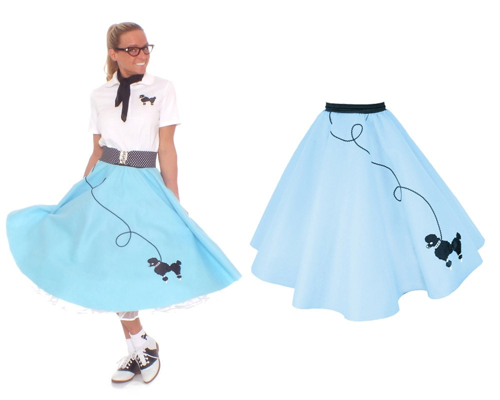 50 s poodle skirt light blue with black by