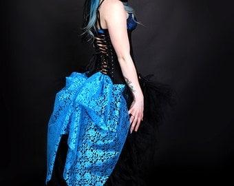 Short Pastel Turquoise Blue Lace Mid Length Bustle Wrap MTCoffinz - All Adult Sizes