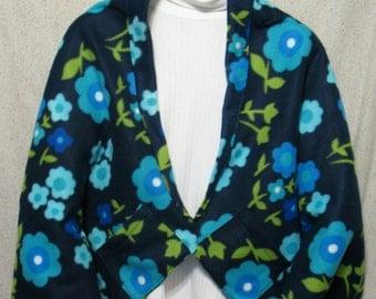 Blue & Aqua Retro Flowers on Navy Shawl, Bed Jacket, or Reading Shawl - Cold Office / Warm Shawl