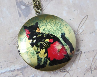 Floral Cat Silhouette Locket Necklace - Brass Photo Locket  (R3B)