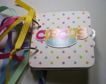 Circus Mini Album, Circus scrapbook, scrapbook, circus photo album, circus brag book, circus album, Circus scrapbook