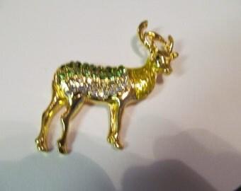 Periot rhinestone deer brooch