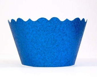 Glitter Royal Blue Cupcake Wrappers - Includes 12