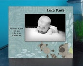 Newborn Boy Photo Frame with Birth Statistics / baby gift, 4x6, 5x7