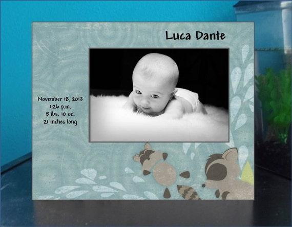 Newborn Boy Photo Frame with Birth Statistics / baby gift, 4x6, 5x7
