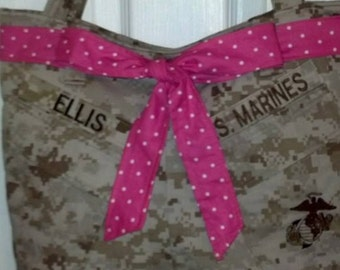 Sale: Use 15Off coupon to get 15% off, USMC MARPAT Desert Tote Bag with Bow made by USMC Approved Hobbyist No. 17050