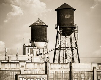Water Towers, New York Fine Art Color Photograph Signed, Industrial, Urban Skyline Free Shipping