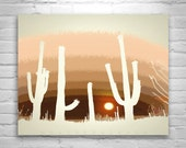 Cactus Print, Arizona, Desert Wall Print, Cactus in the Desert Art, Cactus Silhouette, Desert Landscape, Digital Art, 8x10, 11x14, 16x20