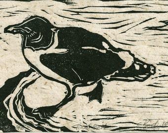 "Canemah Studios Linocut ""Tidal Gait"" Hand pulled print on Handmade Paper"