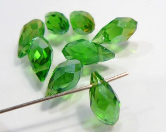 8 Beads....Green AB Glass Faceted Briolette Beads.....12x6mm....BB