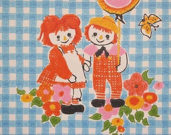 1970's Vintage Wallpaper Vinyl Retro Children's Raggedy Ann and Andy on Blue Check