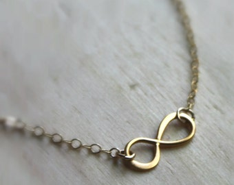 Free Shipping. Infinity Necklace. 14k Gold. Small charm.