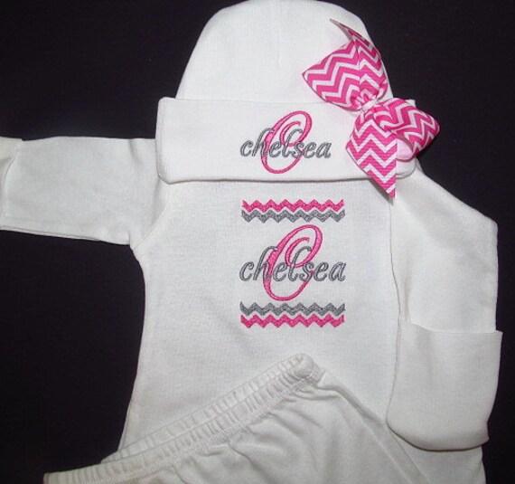 Personalized Newborn Gown Sleeper With Mitten Cuffs Hat With