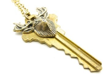 OOAK Unisex Brass Stag Key Layering Necklace