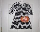 Girls Pumpkin Thanksgiving Dress, Handmade,Peasant Style, Black Chevron, Free Holiday Bow, Newborn,3mo,6mo,12mo,18mo,2t,3t,4t,5,6,7,8