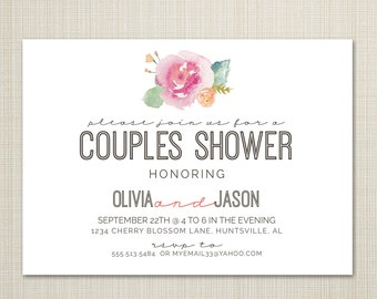 bridal shower invitation, baby shower, wedding or dinner invitation  - watercolor floral.