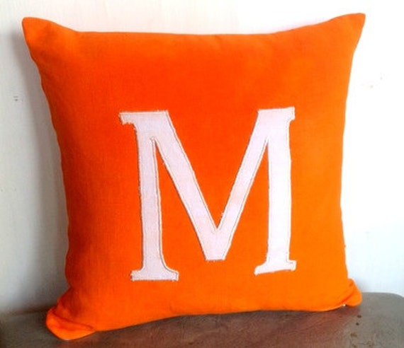 Personalized throw pillows-Orange alphabet monogrammed pillow custom Made-14 inch big letter pillows