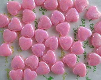 Small Flat Heart BEADS 20pcs AB Pink
