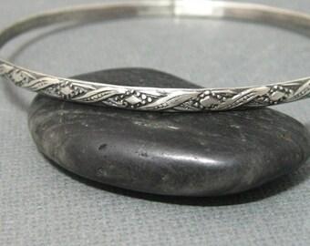 Basket Weave Pattern Sterling Silver Bangle Bracelet, Handmade Artisan Sterling Bangle, Size Small