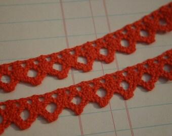"Dark Orange Cluny Trim - Vintage Crochet Torchon Cluny Lace - 5/8"" Wide - 4 Yards"