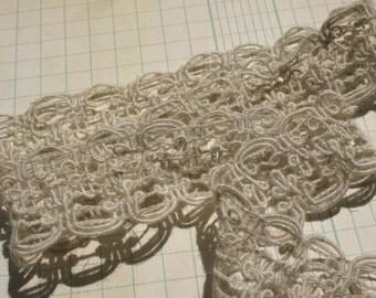 "Khaki Braid Trim - Beige Light Brown Sewing Braid Lace - 1 1/2"" - 4 Yards"