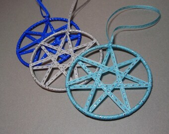 Faerie Ribbon Stars - Set of Three Blue Turquoise and Grey Yule or Christmas Ornaments