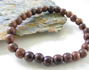 Stretch Gemstone Bracelet - Sandalwood - Yoga Jewelry, Meditation, Healing