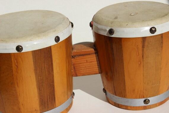 Vintage bongo drums wooden bongos