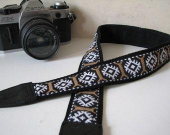 camera strap - CHARLIE, Vintage trim (Extended Length - NO branding)