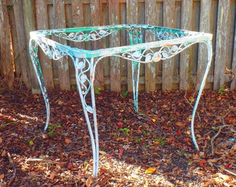 Vintage Shabby Chic Wrought Iron Garden Table