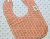 Priscilla Pink Dot Drooler Bib - Snap - Non wicking fleece back - Middle layer Organic cotton