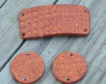Handmade Pottery Beads 3 piece set in Fireluster
