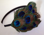 SIMONE blue green and bronze peacock feather headband