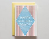 Happy Birthday DIamond - Letterpress Birthday Card - CB077