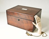 Antique Walnut Burl Wood Jewelry  Box -  MOP - Blue Velvet - Secret Drawer