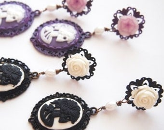 Skeletina Cameo Dangle Stud Earrings -.Dark Mourning Pastel Goth Chic