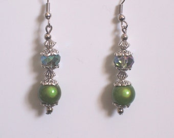 Handmade green flower miracle bead earrings