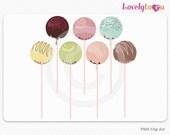 Cake pops clip art, bakery digital clip art set PNG (078)