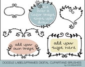 Doodle Frames & Labels Digital Clipart, Photoshop Brushes and Stamps. Vines and Leaf Labels. Personal and Limited Commercial Use.