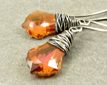 Crystal Dangle Earrings. Wire Wrapped Crystal Earrings, Sterling Silver Jewelry, Copper Crystal Earrings Gifts for Her
