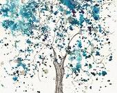 Frost Blue, Winter Tree, 5 x 7, Original Watercolor - with glitz