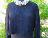 1980s Crop Top / Vintage Romantic Black Lace Cropped Beaded Blouse