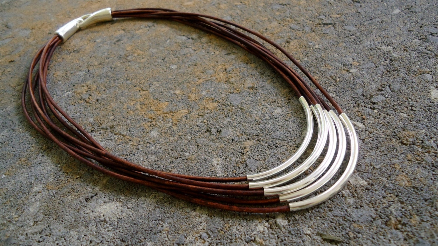 Sterling,silver,on,multiple,strands,of,leather,Necklace/,Layered,Chic,Jewelry,leather_necklace,sterling_necklace,sterling_silver,layered_necklace,silver_and_leather,western_style,western_jewelry,vintage_leather,iseadesigns,Modern_necklace,edgy_jewelry,western_necklace,sterling silver,sterling silver plated casting