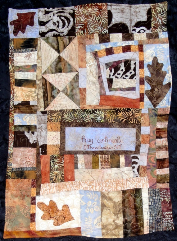 Quilted Art  Collage Leaf  Pray Continually  Wall Hanging