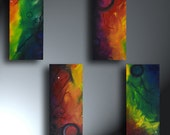 Rainbow Of Colors Abstract Colorful Set Of Four Original Artwork 5.5 x 12 Each Cracking Inside