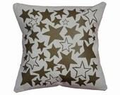 "Metallic Gold and Natural ""Star Bright"" Decorative Throw Pillow / Gold and White Pillow / 16"" x 16"" Throw Pillow / Star Print Pillow"